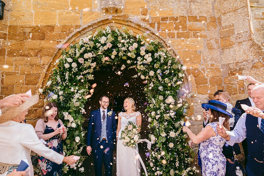 Cotswolds church and marquee wedding flowers